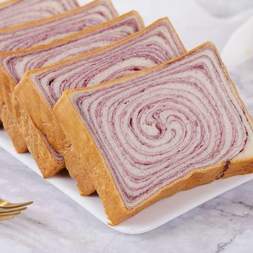 【2斤特价】紫薯木纹吐司面包早餐网红零食品代餐全麦