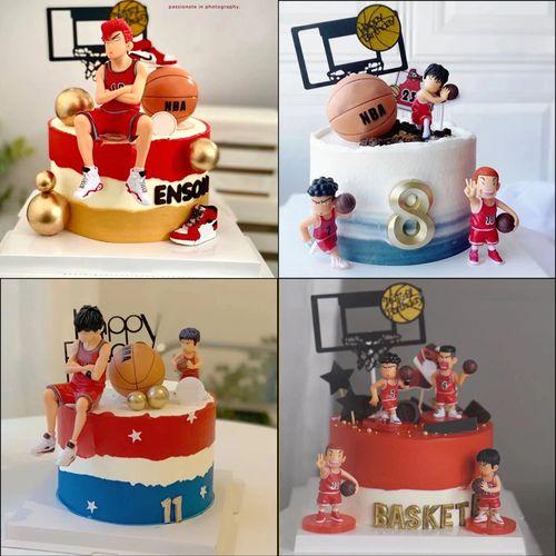 篮球蛋糕装饰灌篮高手蛋糕装饰摆件男生生日派对篮球主题插件插牌