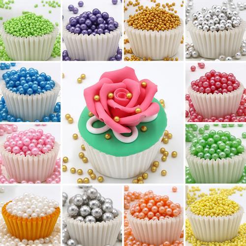 10g装饰银珠大小号珍珠装饰糖杯子蛋糕甜甜圈冰淇淋装饰糖珠彩珠