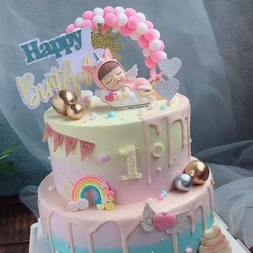 蛋糕装饰梦幻天使独角兽摆件毛球拱门彩虹插件女宝宝周岁生日装扮