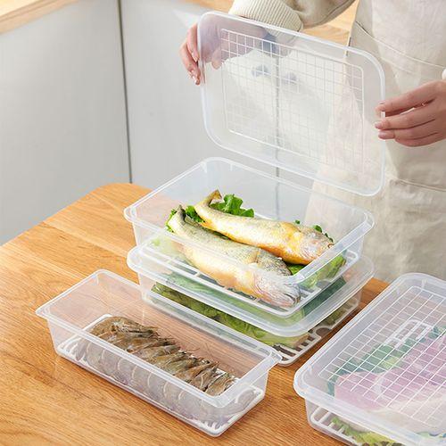冰箱沥水保鲜盒鱼肉保存盒透明塑料冷藏冷冻长方形