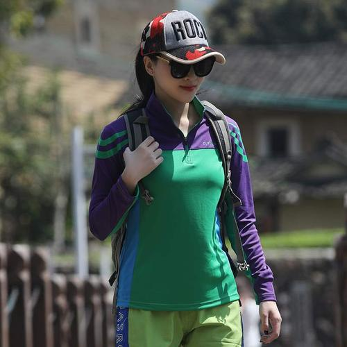 户外拼色速干衣t恤女长袖立领徒步吸汗跑步长裤运动登山快干衣潮
