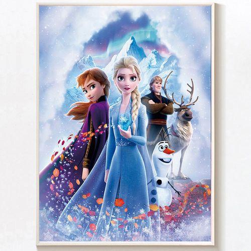 冰雪奇缘2钻石画满钻新款爱莎女王点钻十字绣儿童卡通
