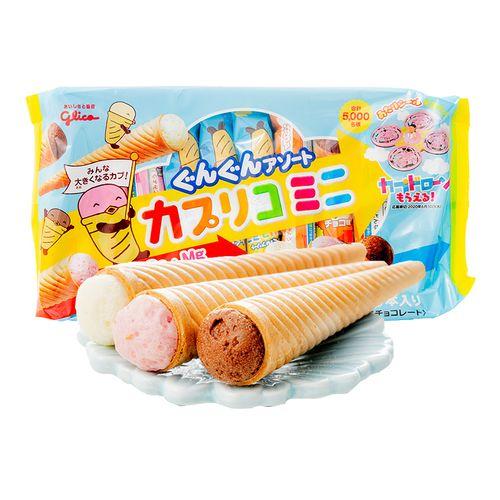 冰激凌雪糕筒草莓巧克力香草味儿童点心 冰淇淋甜蛋筒87g(10支入)