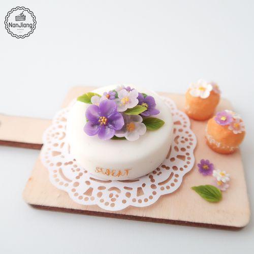 新品手工生日蛋糕花朵 ob11场景12分娃屋配件模型玩具