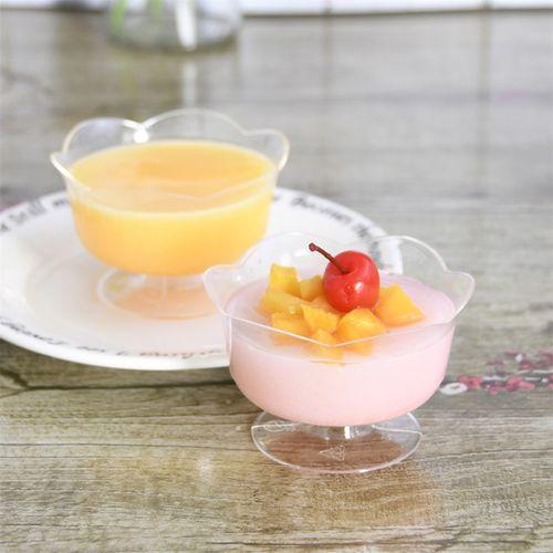 高脚慕斯杯布丁冰淇淋果冻酸奶硬塑料ps一次性透明荷花甜品杯包邮