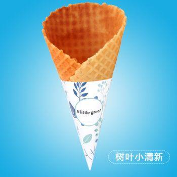 烘焙纸杯34度巨无霸大号开口冰激凌纸套蛋筒冰淇淋纸托600个 树叶小