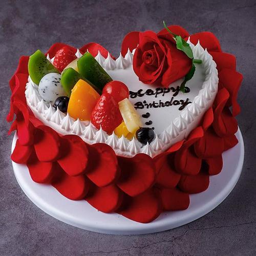 心形爱心花卉水果网红蛋糕模型2020新款生日假蛋糕
