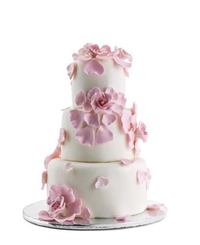 仿真翻糖粉红玫瑰花朵 花瓣多层翻糖蛋糕模型生日蛋糕