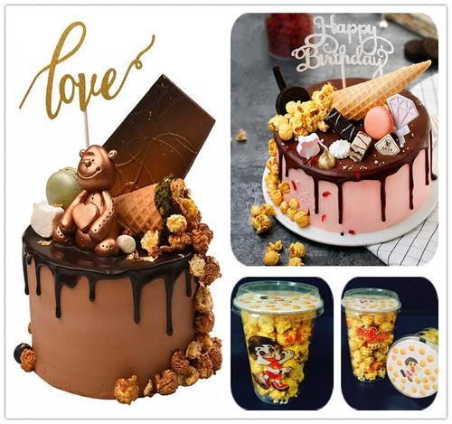 情景蛋糕装饰 爆米花蛋糕创意装饰 卡通甜品台蛋糕