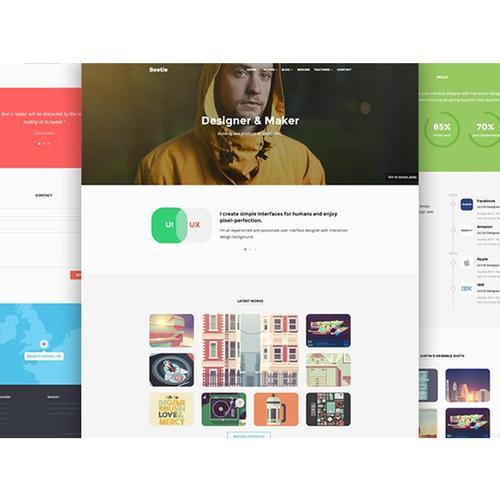 2018年b网页设计模板 p个人扁平化 ui界面设计制作