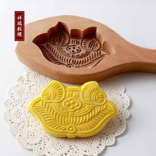 正品蒸馒头工具木质梨木纯手工雕刻面鱼寿桃葫芦模具