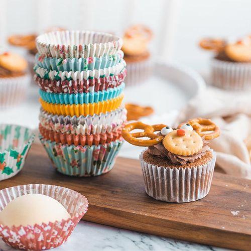 杰凯诺pvc筒高温油纸杯 烘焙马芬蛋糕纸杯 烘培纸托200个 颜色随机
