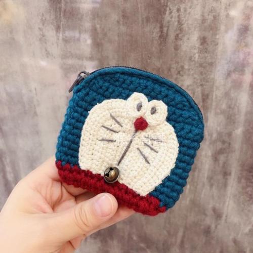 韩国可爱针织鸭屁屁零钱包毛线卡通手拿卡包收纳包