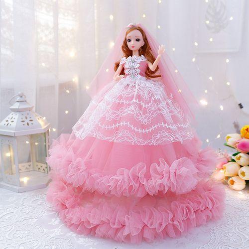 俏芭妃婚纱芭比娃娃女孩公主套装超大号玩具精美单个