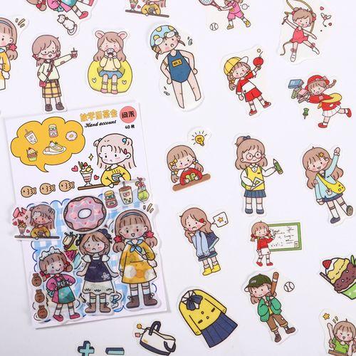 手账贴纸可爱少女ins风进口和纸网红卡通体育动漫素材