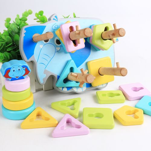 早教教具幼儿园木制儿童益智力积木玩具彩色大象动物