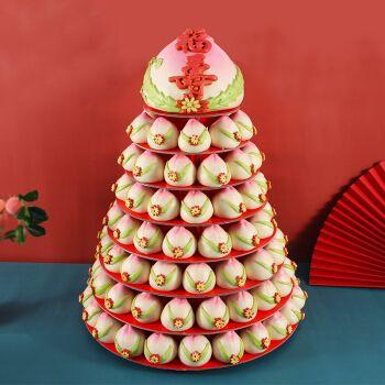 寿桃馒头老人生日寿糕糕点祝寿手工过寿支架大蛋糕点心礼盒寿包4000g