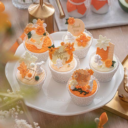 仿真甜品台摆件翻糖纸杯蛋糕模型橙婚礼布置装饰橱窗