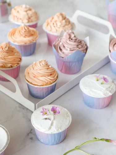 202150个纸杯蛋糕纸杯杯子紫色渐变色马芬杯家用甜品