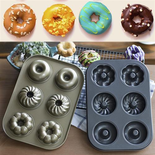 碳钢烘焙模具 不粘6甜花形连甜圈 空小蛋糕模 多连心