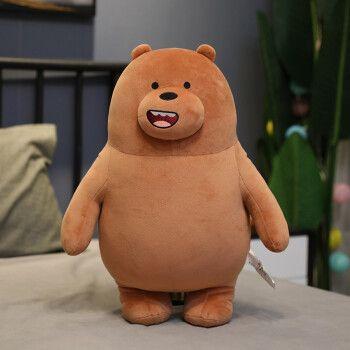 只贱熊大白熊搞笑软萌布娃娃玩偶床上陪睡女孩 【上新】裸熊站-浅棕熊