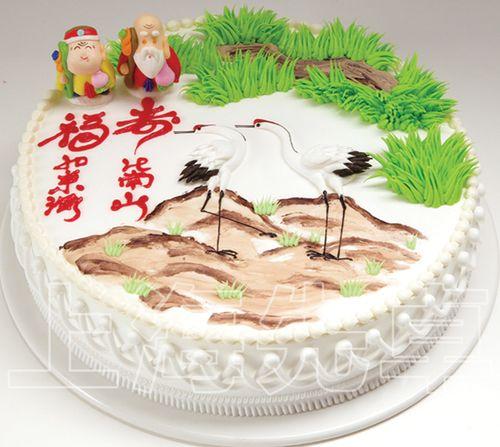 【正品】上海先卓仿真蛋糕模型 塑胶生日蛋糕模型 仙鹤寿星17新款