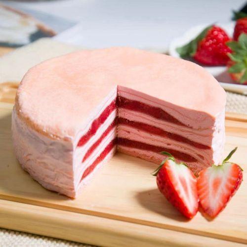 千层蛋糕八拼网红便宜榴莲千层彩虹8拼六拼6英寸生日蛋糕 草莓味千层