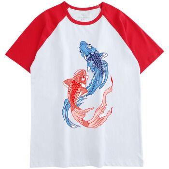 穿的短袖t恤锦鲤满分高生红色团队衣服旗开得胜 插肩红白色 鲤跃龙门