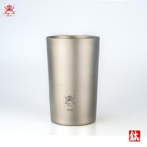 纯钛双层啤酒杯 户外钛水杯隔热防烫茶杯旅行家用300