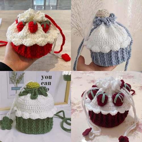纸杯蛋糕毛线包包钩针材料包手工编织水桶diy草莓包送