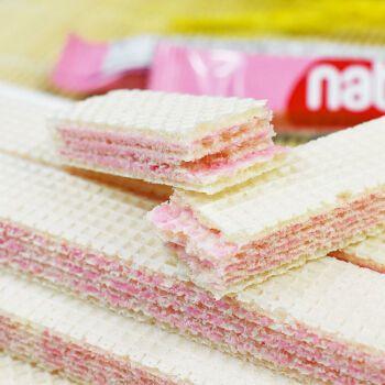 印尼进口richeese丽芝士纳宝帝草莓芝士蛋糕味威化饼干小零食整箱