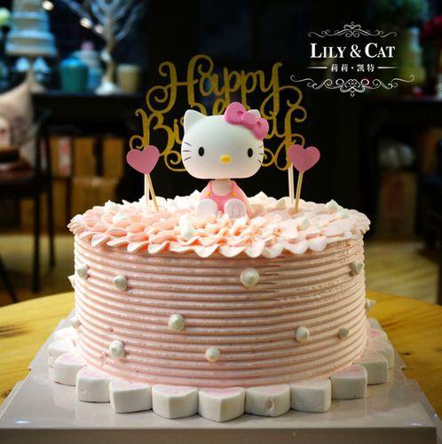 蛋糕装饰 生日蛋糕猫装饰 儿童卡通造型猫生日蛋糕摆件 玩偶