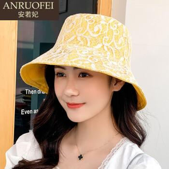 安若妃轻奢品牌蕾丝渔夫帽女春夏季新款显脸小夏天遮阳帽时尚帽子女