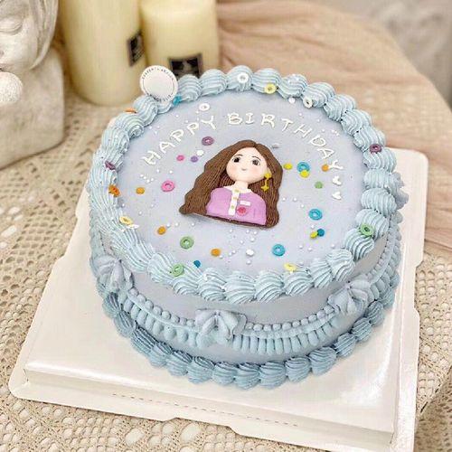 网红软陶蛋糕装饰可爱小清新长发女孩耳丁款蛋糕装饰卡通摆件插件