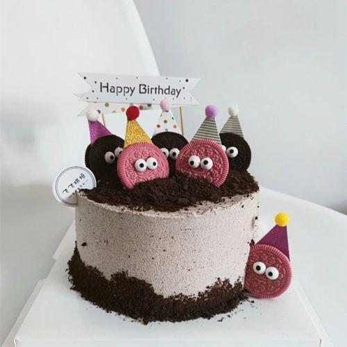 蛋糕装饰插件网红创意可爱搞怪小眼睛小精灵饼干儿童卡通甜品装扮