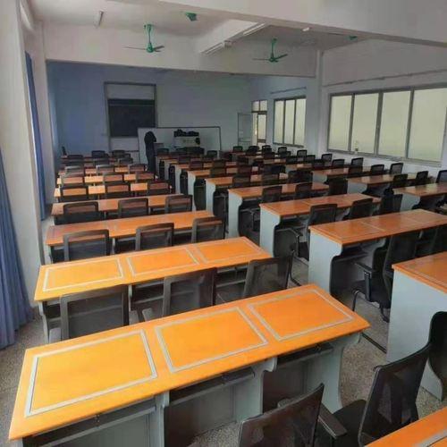 电教室培训桌钢木计算机台式定制多媒体翻转电脑桌讲台用双人