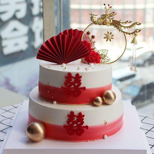 中国风订婚蛋糕装饰凤凰于飞插件折扇结婚甜品台中式