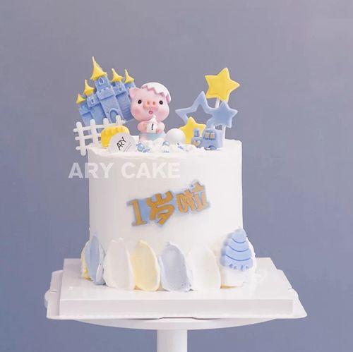 奶瓶破壳小猪蛋糕装饰摆件猪宝宝周岁儿童生日蛋糕装饰插件插牌