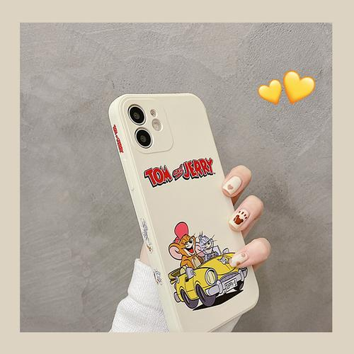 可爱卡通猫和老鼠适用iphone11/12pro max苹果12手机壳xsmax液态硅胶8