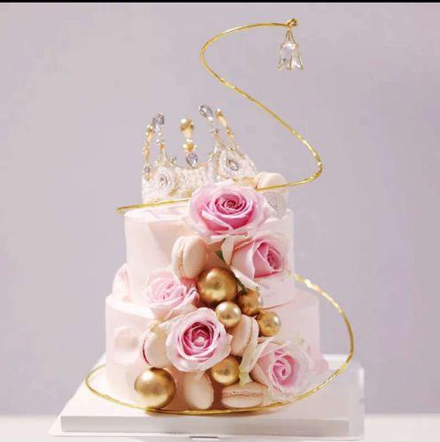 双层蛋糕模型 2021新款网红玫瑰皇冠生日蛋糕模型