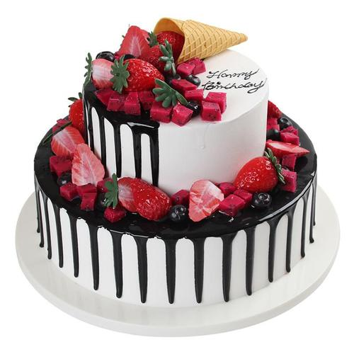 摆放仿真假蛋糕双层蛋糕模型生日双层网橱窗摆件甜品