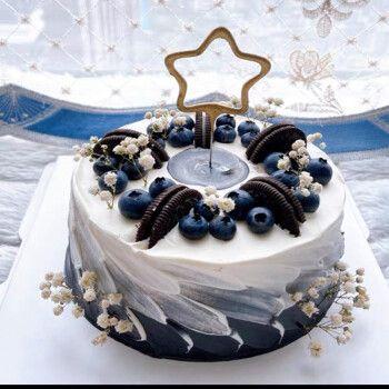 网红创意男神蓝莓奥利奥定制水果生日蛋糕女神ins巧克力蛋糕同城配送