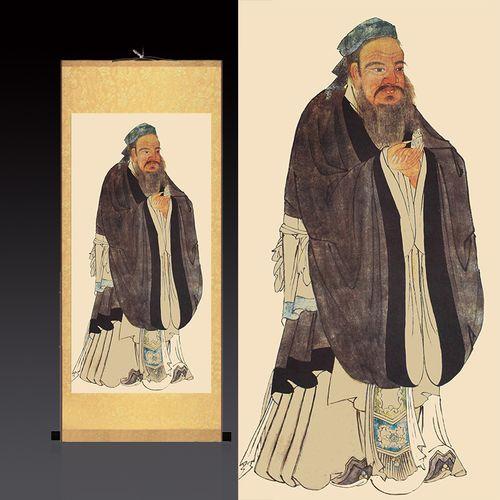 孔子画像儒家文化挂画教室办幼儿园孔夫子丝绸卷轴画