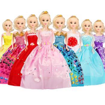 仿真换装妍儿芭比迷糊洋娃娃套装大礼盒公主女孩玩具单个梦想豪宅 8个