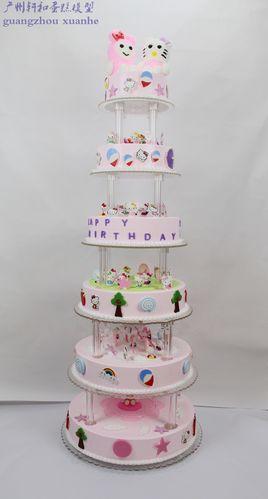 创意新款六层卡通蛋糕模型高端婚礼庆典生日派对多层架子仿真蛋糕