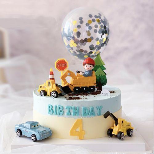 挖土机男孩蛋糕装饰摆件挖掘机路标路障摆件毛毡大树儿童生日插牌