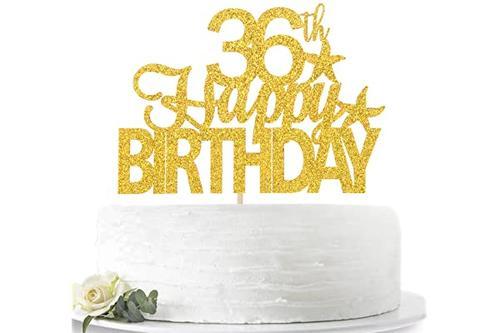金色闪光 生日快乐 36岁生日蛋糕装饰 hello 36岁欢呼