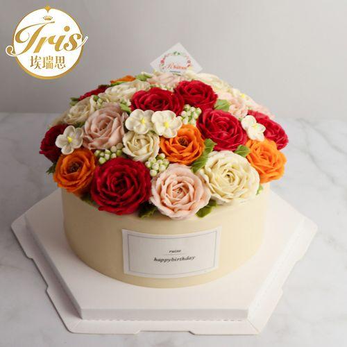 【花开倾城】女神玫瑰花乳酪韩式裱花创意生日蛋糕