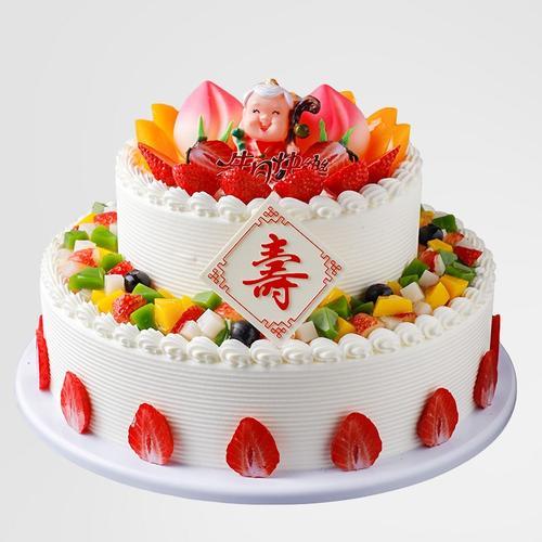 摆设祝寿桃水果生日新款双层2020样品塑胶假生日模型仿真蛋糕